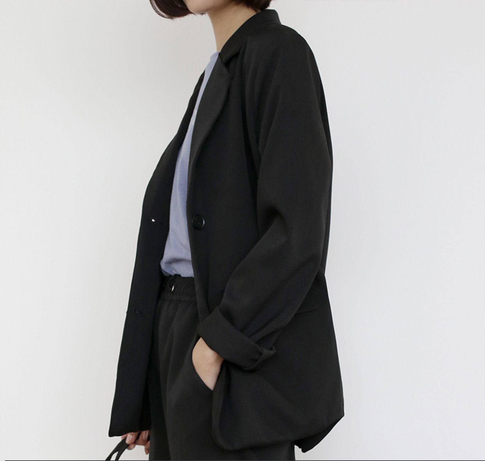 d66368444044 Nueva chaqueta de primavera y verano 2019 Corea del Sur Color puro Corto  Ocio Sencillo Traje pequeño Traje fino de manga larga