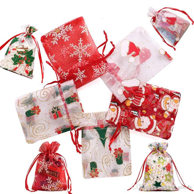 Christmas gifts Yarn Bag Organza Drawstring Pouch Cosmetic jewelry candy storage Packaging bag container Wedding Party Xmas Decorations