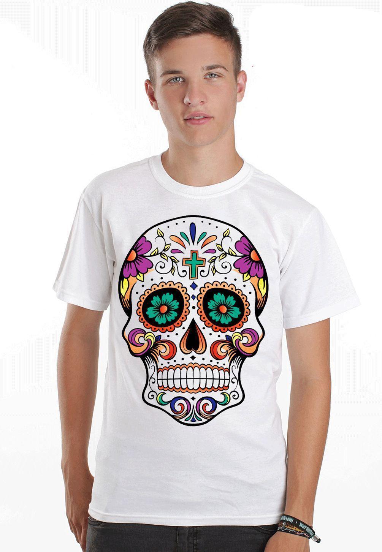 Sugar Skull Key El Muerte Day Of Dead Full Color Mens T Shirt Dtg