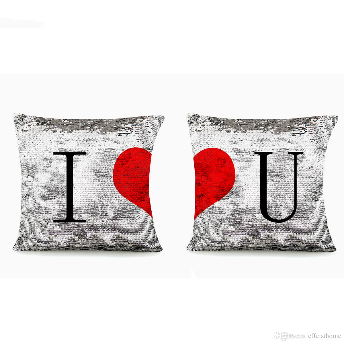 2 pcs Happy Valentine Pillow case Glitter Sequins love pillows I Love You Home Design soft Bed Square Valentine's gift