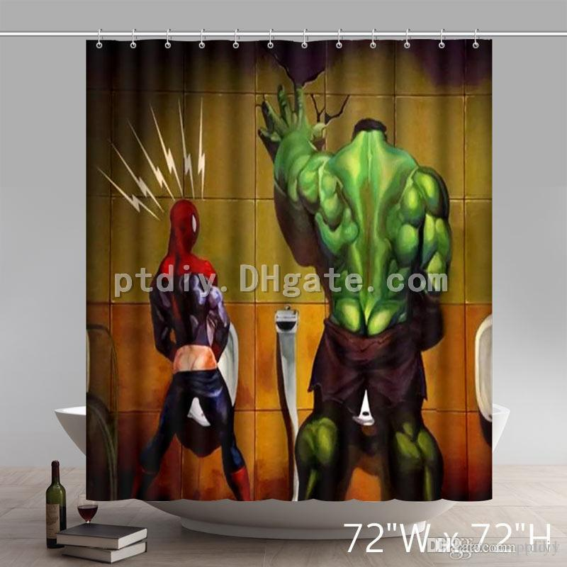 2019 Superhero Hulk Spideman Sale Funny Waterproof Polyester Personalized Custom Shower Curtain From Ptdiy1 2136