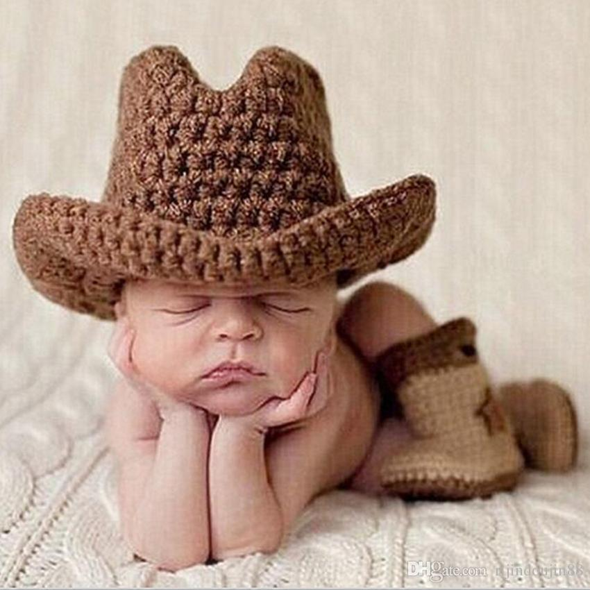 2019 Baby Photography Props Cow Boy Costume Crochet Hat Shoes