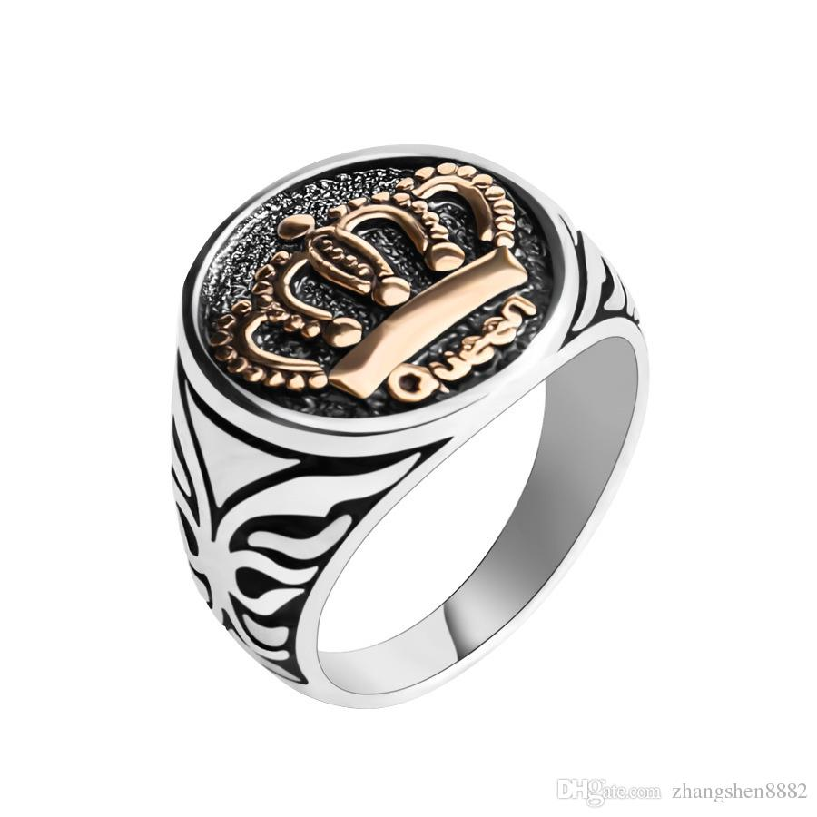 f877cf19cd2 2019 Euro American Retro Punk Wind Plating Dual Color Sculpture Crown Ring  For Men And Women