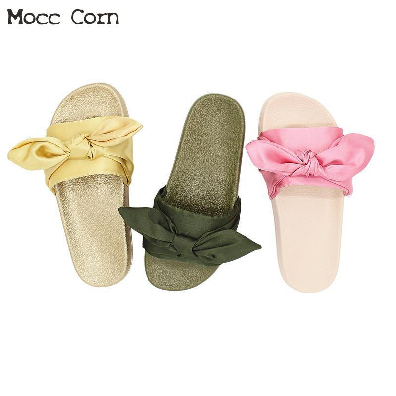 c6725116b258 2019 Shoes Women Anti-slip Silk Bow Home Indoor Summer Open Toe Flats Shoes  Platform Sandals Ladies Beach Slippers Zapatos Mujer Slippers Cheap Slippers  ...