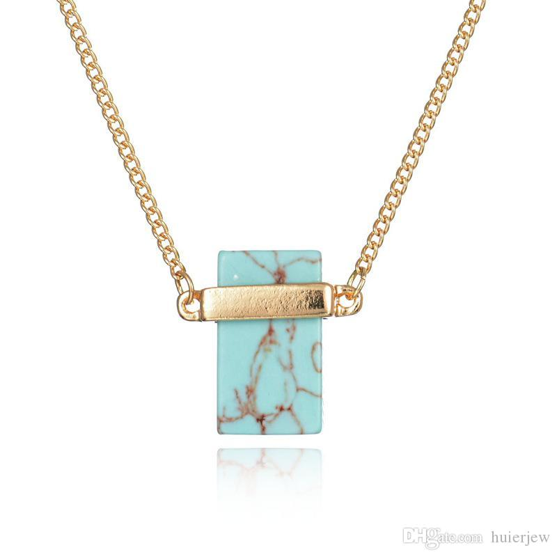 Pretty Pendant Necklace Rectangle White Turquoise Sweater Necklaces Women luxury jewelry Crystal Beautifully Stone Quartz Stone Necklaces