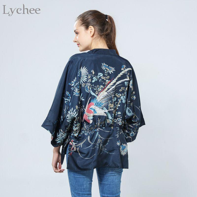 9f5d32ee197 2019 Lychee Harajuku Summer Women Japanese Kimono Phoenix Printed Bat  Sleeve Loose Cardigan Sun Protection Blouse C19041201 From Shen8407, $20.77  | DHgate.