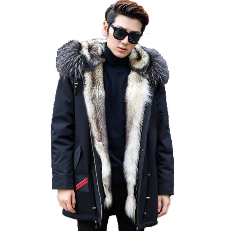 dcc5223a713 2019 Real Fur Coat Winter Jacket Men Real Wolf Fur Liner Parka Men Clothes  2018 Raccoon Collar Warm Jackets Plus Size 5xl MY1725 From Radishu