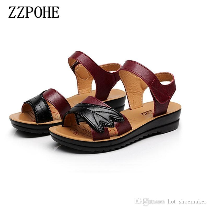 9d1ff0271242 ZZPOHE 2017 Summer New Mother Fashion Sandals Female Soft Bottom Leisure  Comfortable Ladies Sandals Women Flat Plus Size  10212 Summer Shoes Purple  Shoes ...