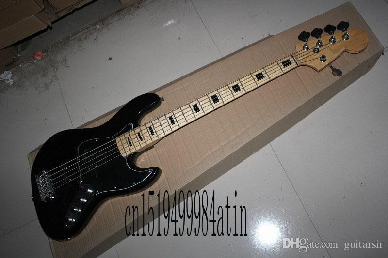 Free Shipping Factory Custom Shop Best Price jazz Black 5 String Bass Guitar with 9v Active pickups In Stock