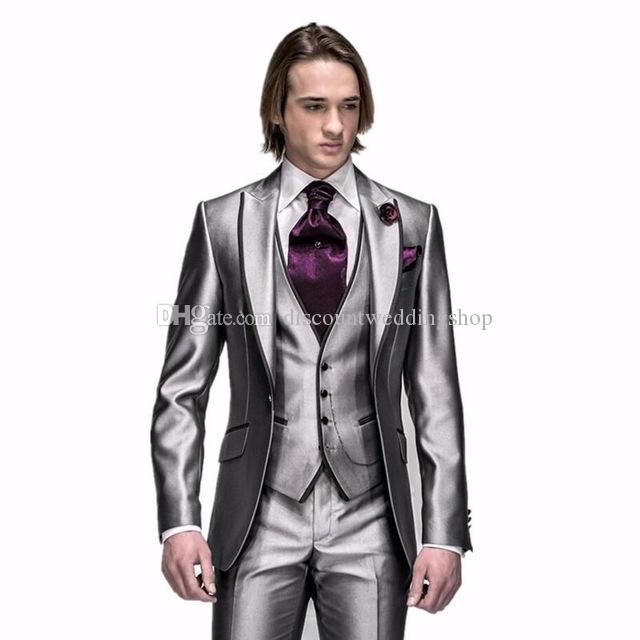 New Popular One Button Shiny Silver Grey Groom Tuxedos Peak Lapel Men Wedding Party Groomsmen 3 pieces Suits (Jacket+Pants+Vest+Tie) K92