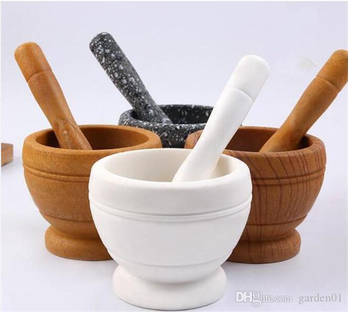 30pcs Mortar and Pestle Kitchen Garlic Mills Pounder Cuisine Garlic Mills Mixing Pot Herb Pepper Minced Tool Mortar Grinder G424