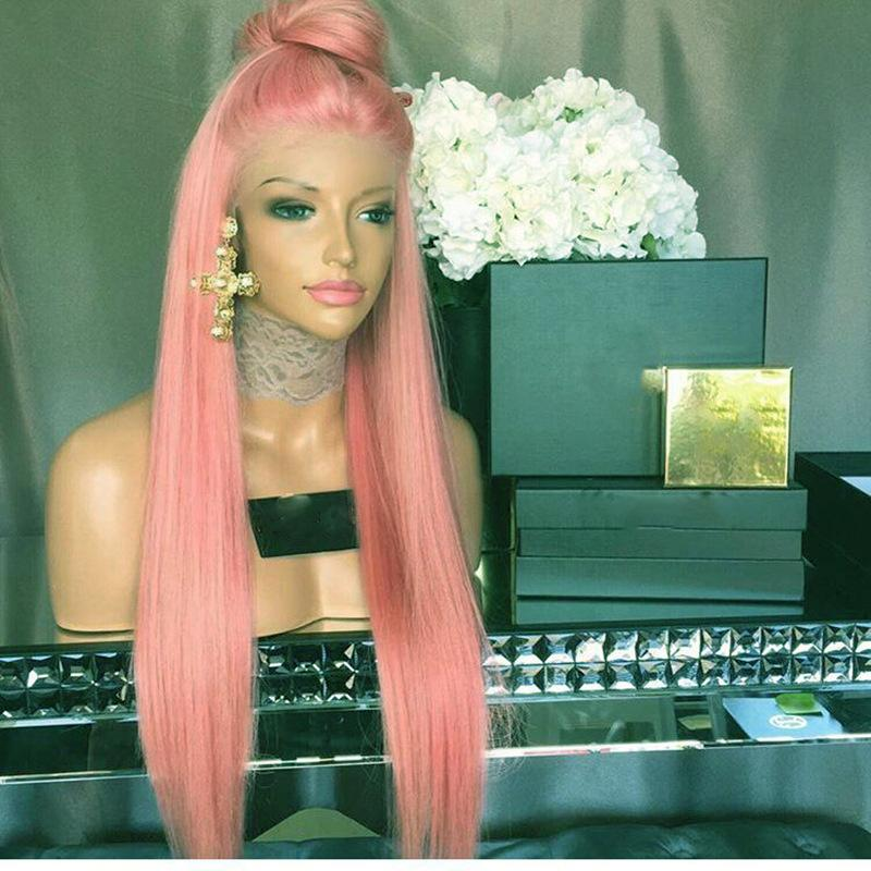Wig New European and American Chemical fiber front lace wig pink long straight hair wig headpiece
