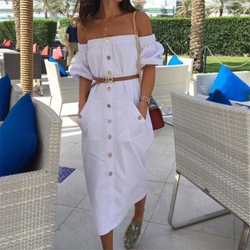 0462a8bdd 2018 Summer Women Sexy Boho Dress Off Shoulder Button Long Maxi Evening  Party Beach Dress Sundress White Size 6 14 Party Dresses Junior Short  Purple Dresses ...