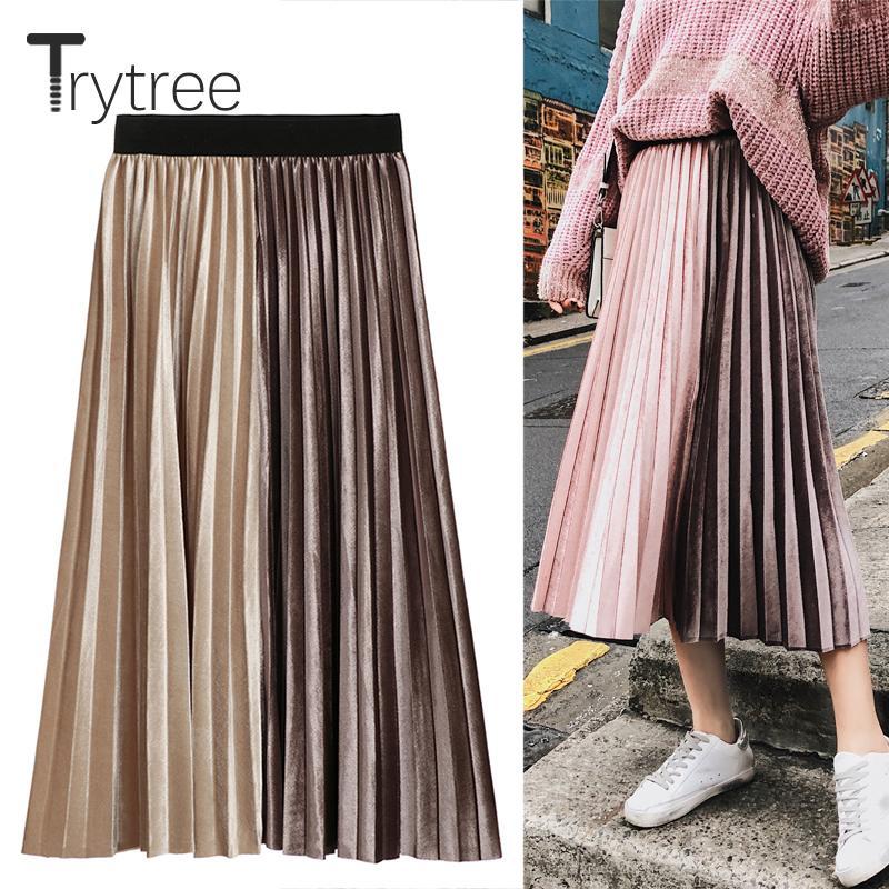 50a6c045f5 2019 Trytree Spring Summer Pleated Skirt Womens Corduroy High Waist Skirt  Shining Corduroy Long Skirts New Fashion Skirt Female Y190420 From  Zhengrui04, ...