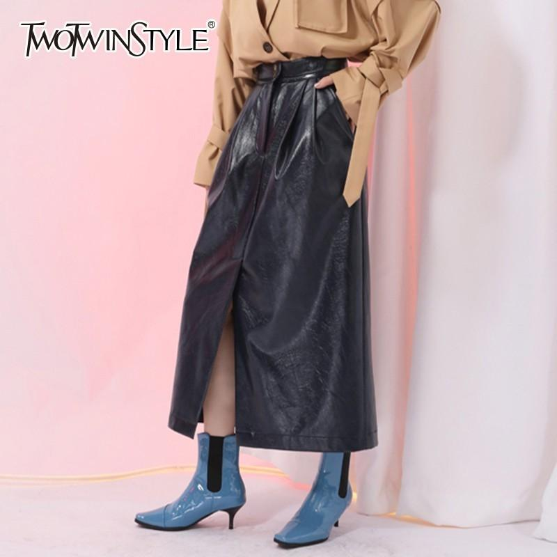 fbee1d2debfb4 wholesale PU Leather Skirts Female High Waist Front Split Midi Pleated  Skirt Women Vintage Fashion 2018 Spring Clothes Tide