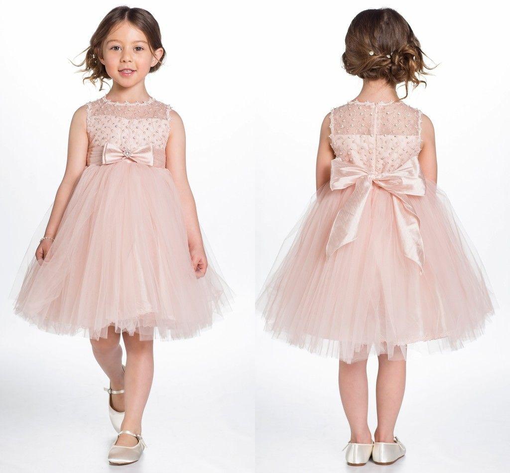 1a92e7443 Compre Pérolas Rosa Flower Girls 'Vestidos Curto Tule Arco Vestido De Baile  Little Girls Na Altura Do Joelho Pageant Vestidos De Foreverbridal, ...