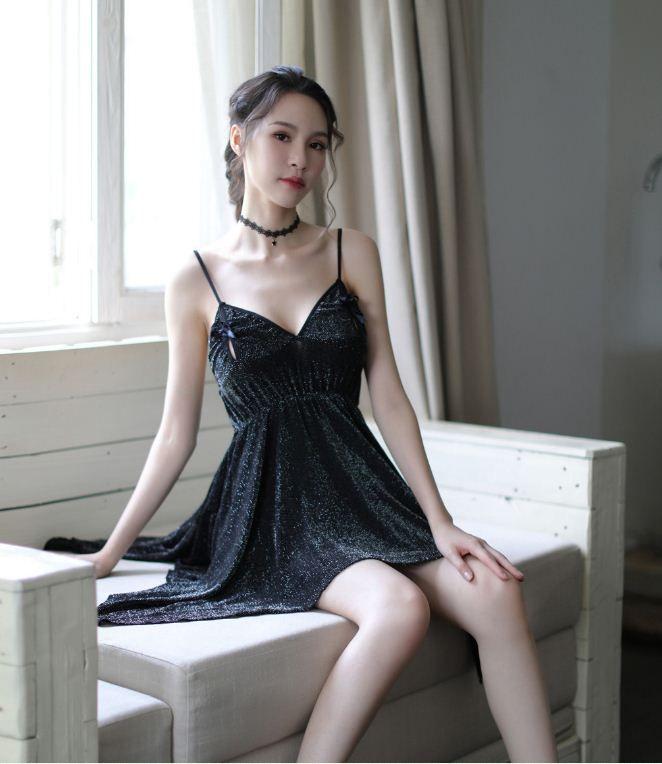 1fca665b5f17 2019 Hot Sales Free Size Women Sexy Sleepwear Bow Decor Mini Short Dress  Ladies Night Wear  S132 From Happy033