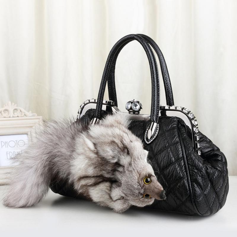7975e1914914 New Style Winter Leather Shoulder Bag Real Fox Fur Luxury Designer Boston  Tote Bag Ladies Cute Fur Handbags With Diamonds 776 Leather Purses Cheap  Designer ...