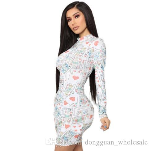 Plus Size Poker Printed Stylish Pencil Dress 2019 O Neck Long Sleeve Short Dress Spring High Street Sexy Slim LADY Dress