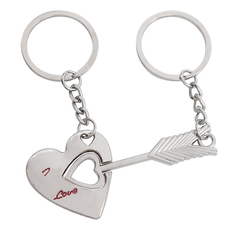2pcs/set Couple Keychain Silver Arrow Heart Shape I Love You Key Chain Ring For Lovers Cupid's Arrow Key Rings Birthday Gifts