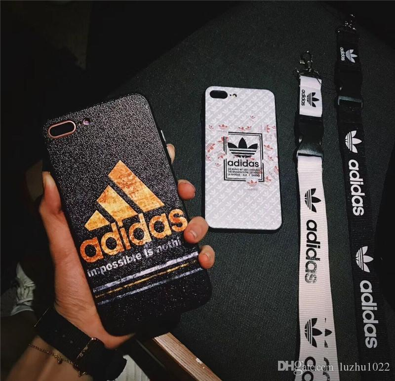 Top Fashion brand printed letter Ad mobile phone case cover for iphone Xs max X XR 7plus 8plus 6plus 7 8 6 TPU+PC with lanyard