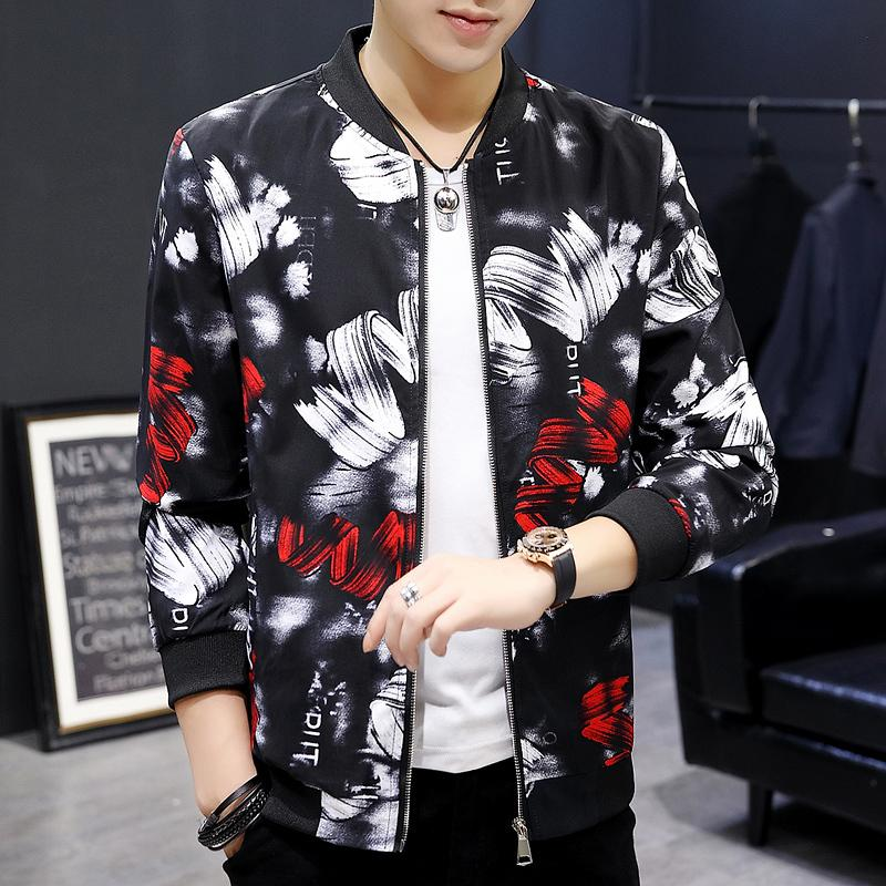 Men Floral Jacket 2019 Autumn Men Jacket Coat Man Hip Hop Streetwear Club Outfit Coat Bomber Plus Size 6xl