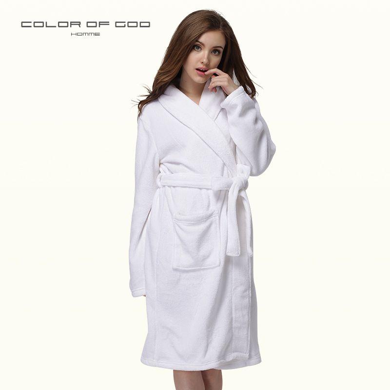 a6513b0428 2019 White Cotton Bathrobe Woman Cloak Dressing Gown Women Bath Robe Thick  Warm Couples Towel Albornoz Mujer Kimono Peignoir Femme From  Chinese_wholesale01, ...