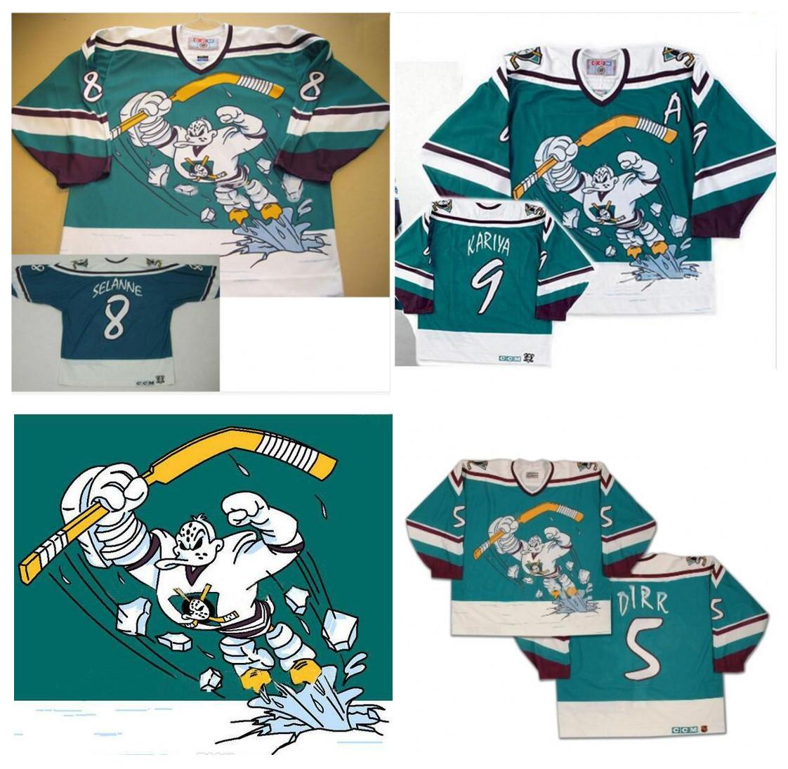 5c53c00e2 2019 Men Women Youth CCM Retro Anaheim Mighty Ducks Vintage Wild Wing Jersey  5 DIRR 8 Teemu Selanne 9 Paul Kariya 11 Valeri Karpov Hockey Jerseys From  ...