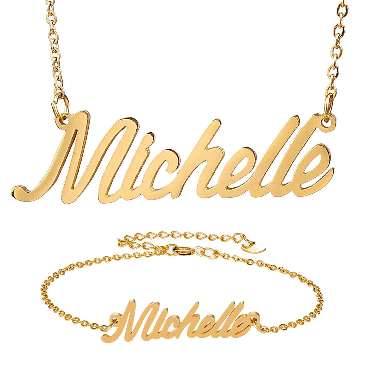 9f107272dde82 Fashion Stainless Steel Nameplate Necklace Bracelet Set Women Michelle  Script Letter Gold Choker Chain Necklace Pendant Nameplate Gift