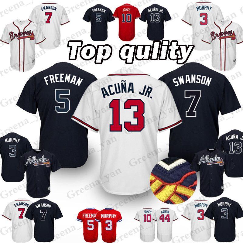 44e504022 2019 TOP Atlanta Braves Baseball Jersey 5 Freddie Freeman 3 Dale Murphy 10  Chipper Jones 13 Ronald Acuna Jr Baseball Jerseys High Quality From  Greena yan