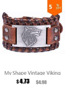 My Shape Bear Paw Handmade Braided Genuine Leather Strap Wolf Claws Viking Bracelets Bangles Nordic Runes Wristbands Odin Symbol