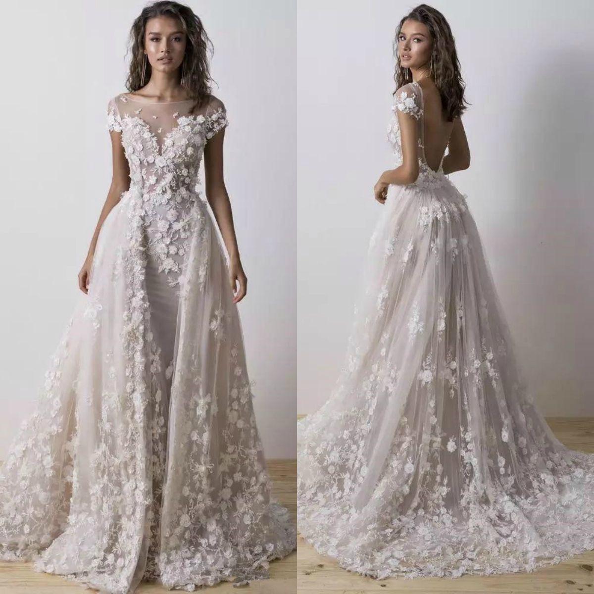 3795895fac7 Berta 2019 Mermaid Wedding Dresses With Detachable Train 3D Floral  Appliqued Lace Bridal Gowns Vestido De Novia Country Style Wedding Dress  Designer Wedding ...