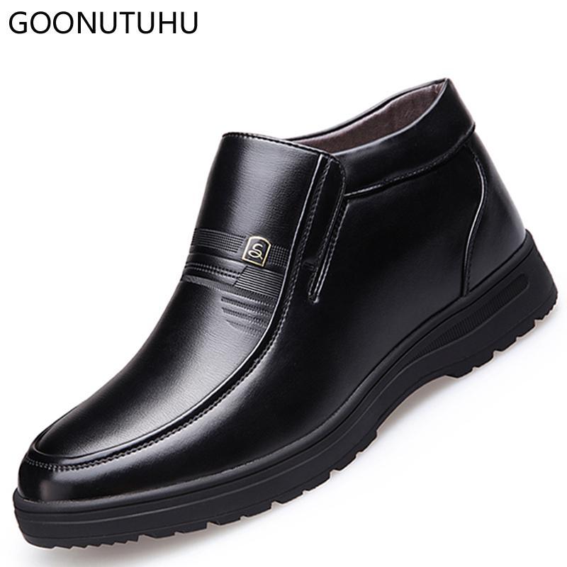 Negro Man Negocios Clásico Caña Shose De Alta Cuero Zapatos Invierno Para Vestido Elegante Office Hombre Zapato Formal Marrón N0wvmnO8