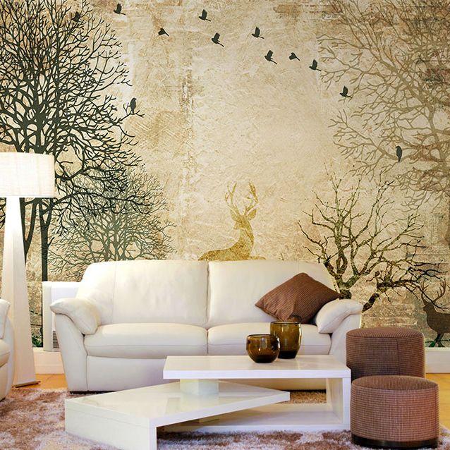 Murales 3D Carta da parati Foresta Murale Soggiorno Camera da letto  Wallpaper cervo Pittura ad olio Retro adesivo murale Foto Decor