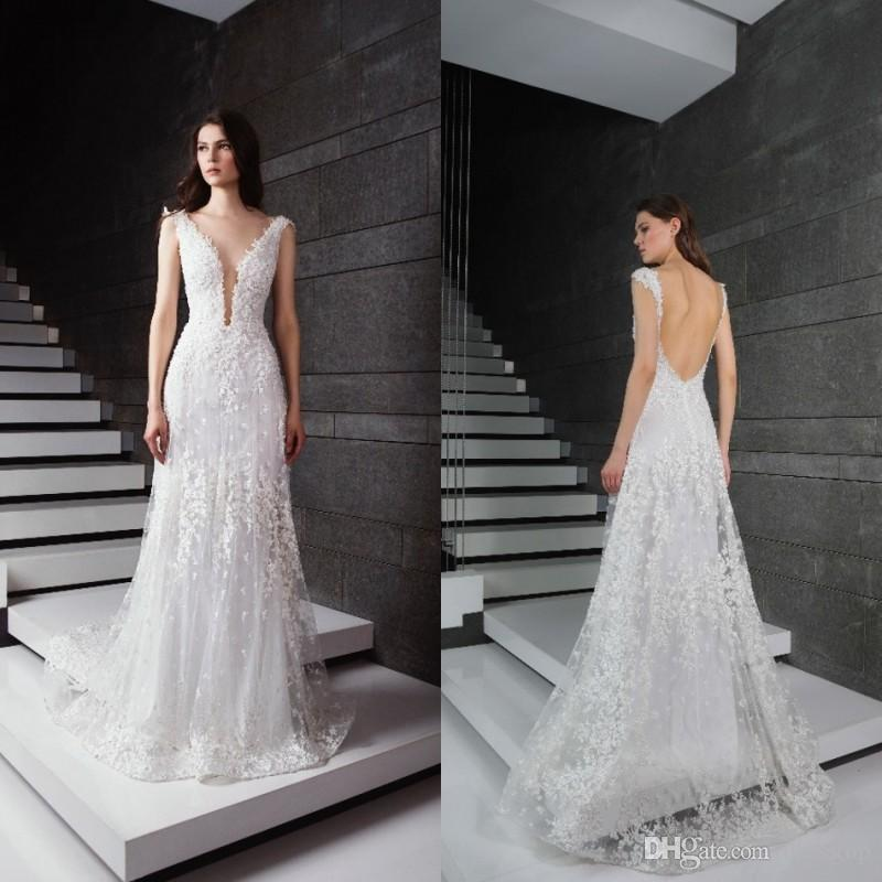 b392136cc8 Discount 2019 Tony Ward Lace Wedding Dresses V Neck Sleeveless Appliqued Tulle  Bridal Gowns Floor Length Backless Beach Wedding Dress Cheap Simple A Line  ...