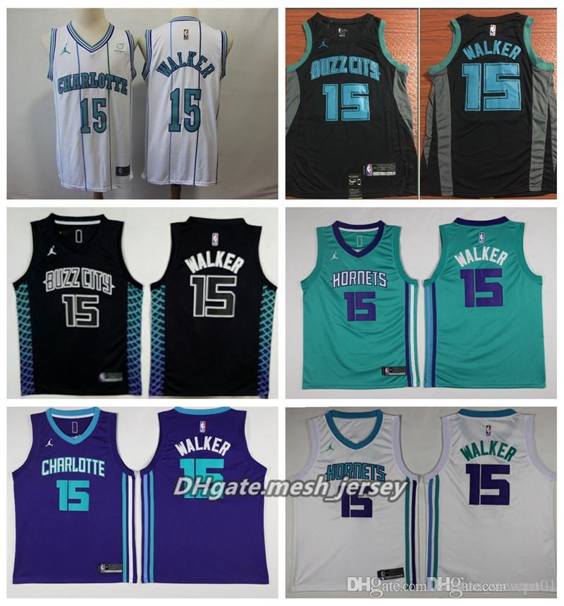 ad33234ae08 Men Hornets Charlotte Basketball Jersey  15 Walker Retro Stitched Jerseys  City Style 15 Walker Jerseys Hornets Jerseys Online with  21.49 Piece on  Wch11 s ...