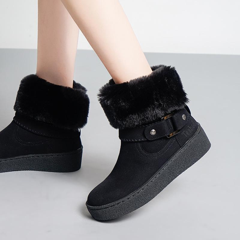 71cbe0450 Compre 2018 Sapatos Casuais Marca De Moda Feminina Botas De Neve Com Pele De  Senhora Chaussure Inverno Novo Calçado Feminino Mid Bezerro Todo O Jogo De  ...