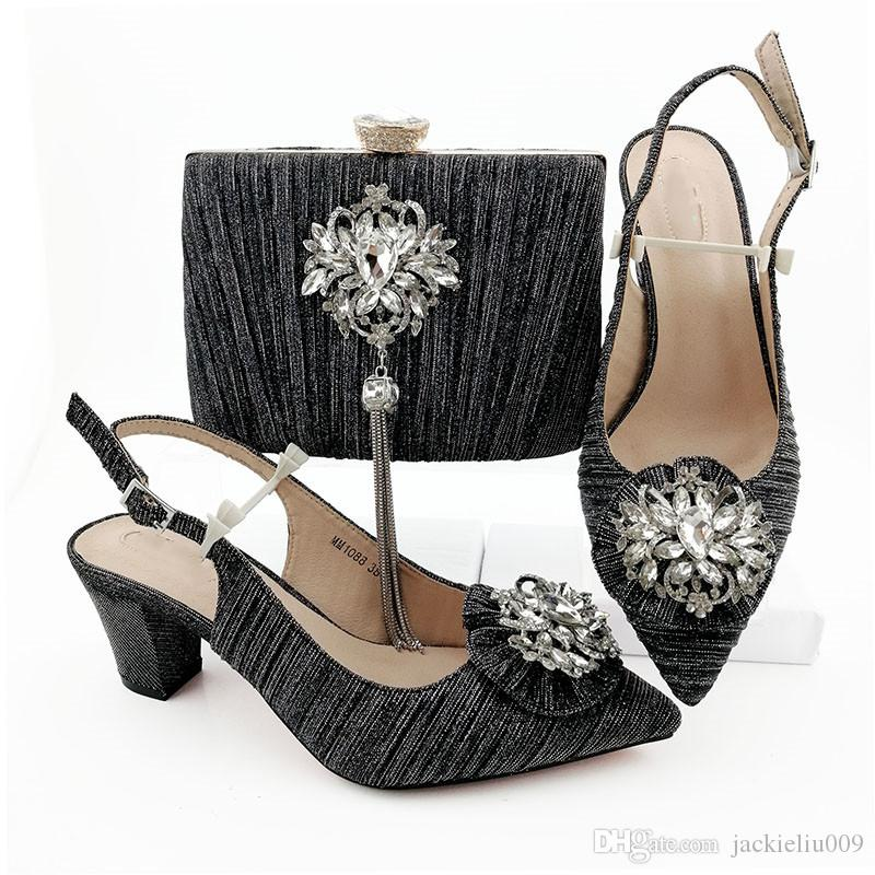 New fashion black women dress shoes match handbag with big crystal decoration pumps e sacchi africani MM1088,6.5CM