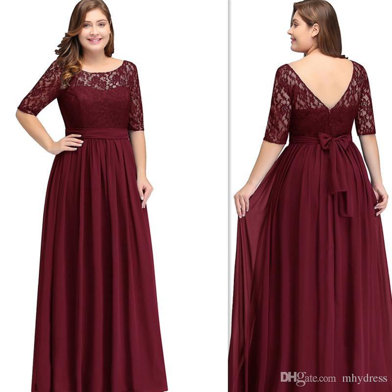710c30eeb9a 2019 Dark Red Burgundy Plus Size Bridesmaid Dresses With Sleeves A Line  Sheer Floor Length Maid Of Honor Gowns Cheap Big Size Women Brown Bridesmaid  Dress ...