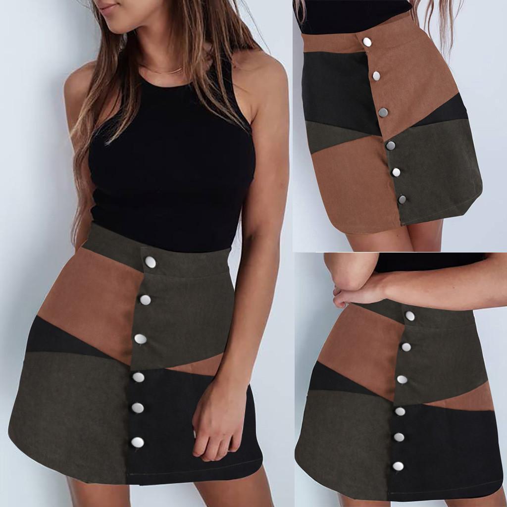 61009c9f4335 Moda mujer Casual Botton A-Line Falda Patchwork Color Block Short Mini  Falda Gonna colorblock con bottoni vintage spodnica #C