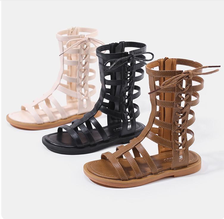 83ff8501f3e Fashion Kids Roman Sandals Summer Lace Up Bows Zipper Girls Sandals ...