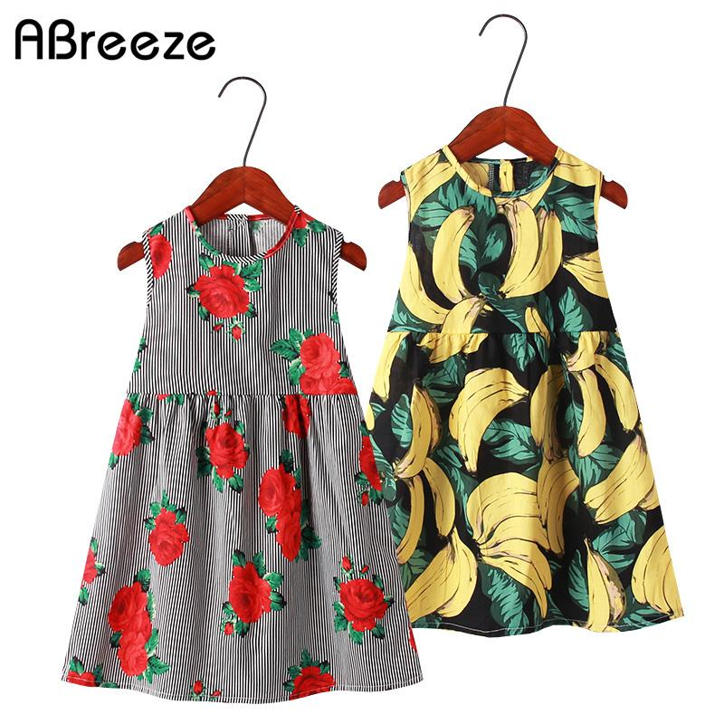 091cee36719f5 2019 New summer girls clothing dresses 2-11T striped print sleeveless  dresses for girls cotton knee-length children vest