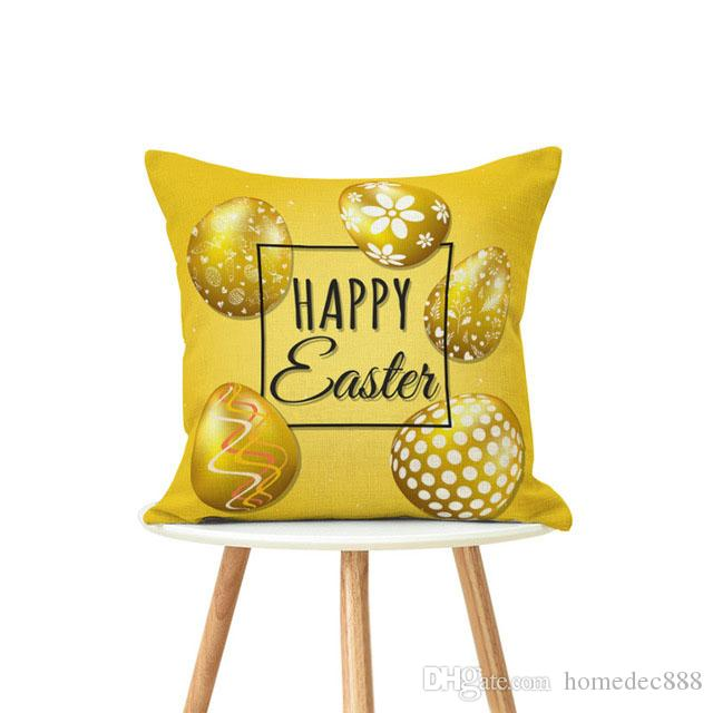New 45*45cm/18inch Easter Pillowcase Single-sided Printing Home Sofa Pillowcase Customized Coffee Shop Pillow Case DH0834