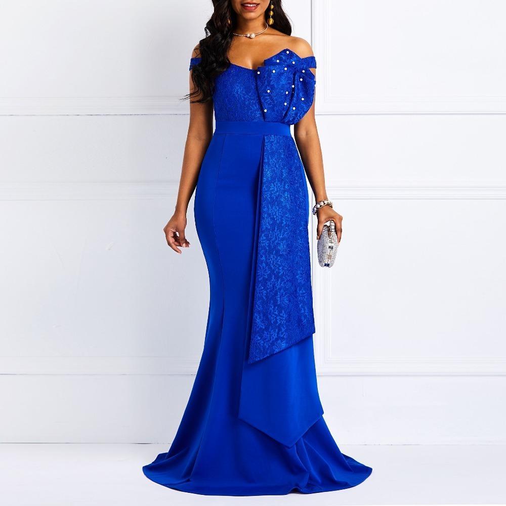 dfea1cc91ef8e Women Off Shoulder Long Dress Sexy Mermaid Slash Neck Beads Skinny Robe  Prom Evening Fashion Patchwork Lace Elegant Maxi Dresses S415