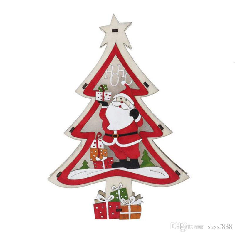 Colorful Lights Christmas Decorations Wooden Christmas Tree and Window Display Warm Little Lamp in the interior