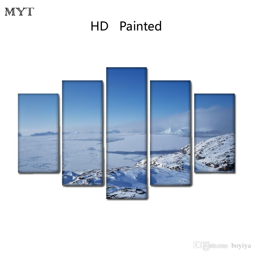 Fashion Unframed HD Printed 5 Pieces paintings Arctic scenery Module Wall Art Pictures on Canvas for living room bedroom home decor