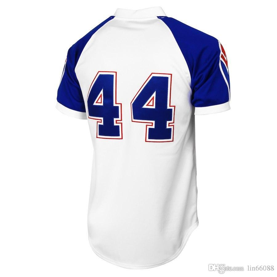 22bc93d8e High-quality Cheap Mens  44 Hank Aaron White Blue Baseball Jersey  Embroidery Jerseys Sport Size S M L XL XXL Jersey Online with  26.04 Piece  on Lin66088 s ...