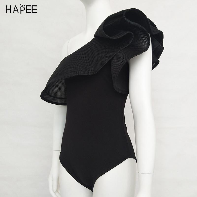 2019 Black White Ruffles Jumpsuit Romper One Piece Swimsuit Brazilian One Off Shoulder Monokini Swimwear Bathing Suit For Women