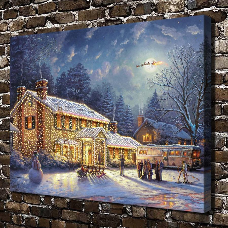 Thomas Kinkade,Snow Christmas House Scenery,1 Pieces Canvas Prints Wall Art Oil Painting Home Decor (Unframed/Framed) 24x32