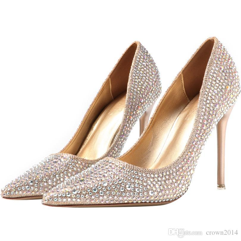 c13a768a26bf6 Luxury Gold Silver Crystal Women Designer Shoes High Heels 2019 Fashion  Bling Bridal Shoes Pointed Toe for Wedding Real Picture Ladies Heels